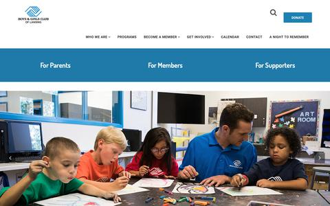 Screenshot of Home Page bgclansing.org - Boys and Girls Club of Lansing – To inspire and enable all young people, especially those who need us most, to realize their full potential as productive, responsible and caring citizens. - captured Oct. 6, 2018