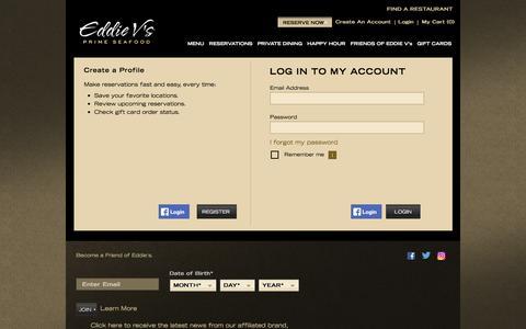 Screenshot of Login Page eddiev.com - Account Login   Eddie V's Prime Seafood Restaurant - captured Sept. 24, 2016