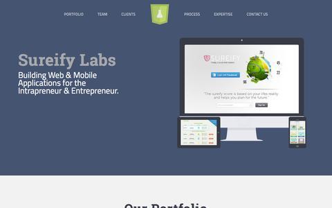 Screenshot of Home Page sureifylabs.com - Sureify Labs - captured Sept. 19, 2014