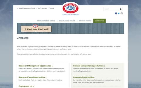 Screenshot of Jobs Page legalseafoods.com - Careers | Legal Sea Foods - captured May 17, 2017