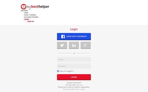 Screenshot of Login Page mybesthelper.com - Babysitter, Nanny - childcare jobs and more ❤ MyBestHelper.com! - captured Sept. 10, 2014