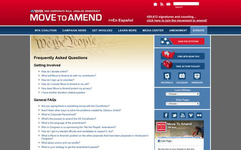 Screenshot of FAQ Page movetoamend.org - Frequently Asked Questions | Move to Amend - captured Nov. 8, 2018