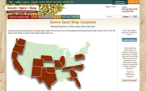 Screenshot of Locations Page savoryspiceshop.com - Savory Spice Shop Locations Near You | Savory Spice - captured Dec. 19, 2015