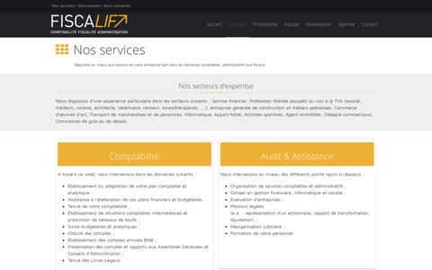 Screenshot of Services Page fiscalift.be - FiscaLift - Services - captured Sept. 30, 2014