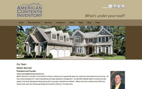 Screenshot of Team Page americancontents.com - Our Team - American Contents Inventory - captured Jan. 10, 2016