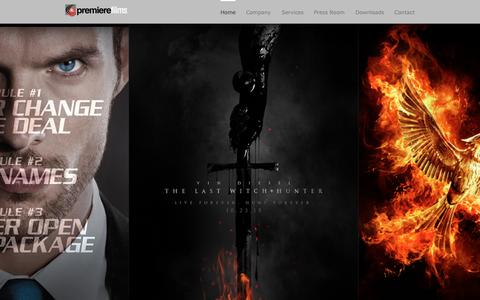 Screenshot of Home Page premiere-films.com - Welcome to Premiere Films - A Full-Service Distribution, Representation, Marketing, Exhibitors Relations & Print Storage/Management Company Based In San Juan, Puerto Rico - captured Sept. 24, 2015