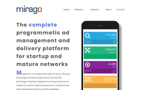Screenshot of Home Page mirago.com - Mirago M3 - More Than Just an Ad Server - captured Nov. 15, 2018