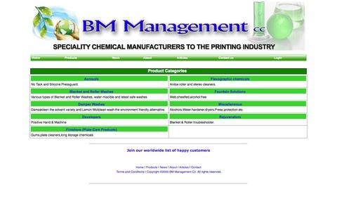 Screenshot of Products Page bmmprint.com - BM Management - Specialist Chemicals for the Printing Trade - captured Oct. 4, 2014