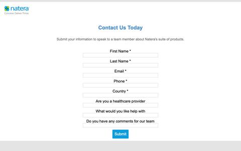 Screenshot of Contact Page natera.com captured May 17, 2019