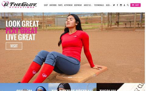 Screenshot of Home Page thegluvathletique.com - TheGluv Athletique - Women's and Girls Softball Pants & Uniforms - captured Feb. 28, 2016