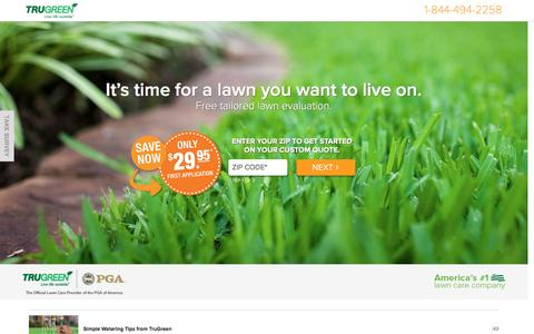 Screenshot of Landing Page trugreen.com - TruGreen. Live life outside. - captured Oct. 23, 2016
