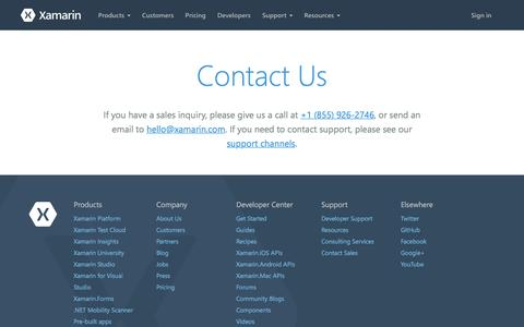 Screenshot of Contact Page xamarin.com - Contact Xamarin and let us know how we can assist you - Xamarin - captured Dec. 4, 2015