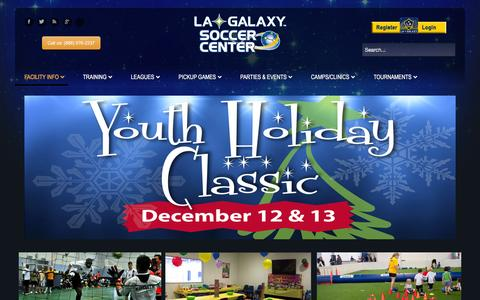 Screenshot of Home Page lagalaxysc.com - LA Galaxy Soccer Center - Indoor Soccer and Recreational Facility - captured Jan. 16, 2016