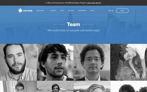 Screenshot of Team Page cartodb.com - Team — CartoDB - captured Sept. 18, 2014