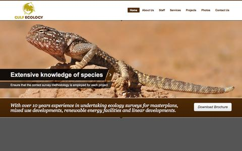 Screenshot of Home Page gulfecology.com - Gulf Ecology - captured Sept. 30, 2014