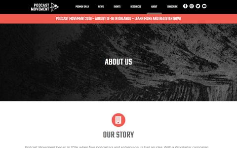 Screenshot of About Page podcastmovement.com - About Us - captured July 21, 2019
