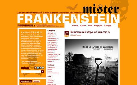 Screenshot of Home Page misterfrankenstein.com captured Aug. 14, 2015