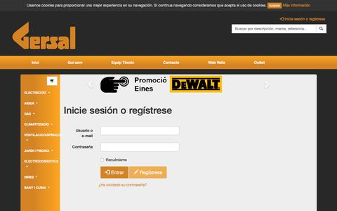 Screenshot of Login Page gersal.com - Inicie sesión o regístrese -  Tienda Gersal - captured Oct. 7, 2016