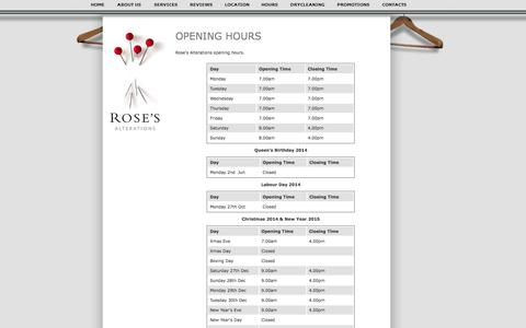 Screenshot of Hours Page roses.co.nz - Rose's Alterations: Auckland's #1 Clothing Alterations Company - Hours - captured Oct. 6, 2014