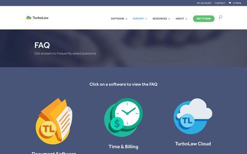 Screenshot of FAQ Page turbolaw.com - FAQ - TurboLaw Software - captured Nov. 14, 2016