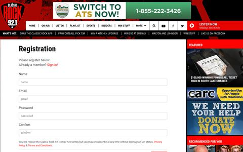 Screenshot of Signup Page thisstationrocks.com - Classic Rock 92.1 - Registration | Classic Rock 92.1 - captured Oct. 26, 2018