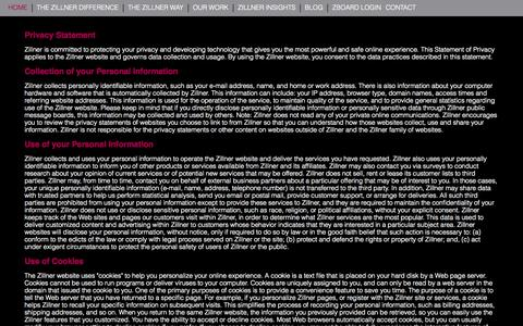 Screenshot of Privacy Page zillner.com - Contact Zillner | Senior Marketing Experts - captured Oct. 9, 2014