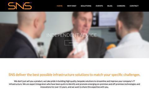 Screenshot of Home Page snsltd.co.uk - SNS Ltd - IT Infrastructure Solutions - captured Nov. 11, 2018