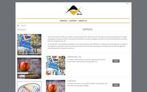 Screenshot of Services Page dbi.se - Advertising Agency and Publisher with services from printed material to e-commerce and cloud services - DBI.se - captured Oct. 24, 2018