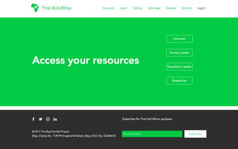Screenshot of Login Page firstaidafrica.org - First Aid Africa | Training, Volunteering, & First Aid Resources | Log In - captured Aug. 13, 2018