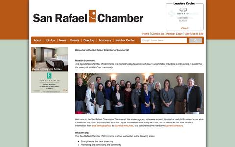 Screenshot of About Page srchamber.com - San Rafael Chamber of Commerce - captured Oct. 4, 2014
