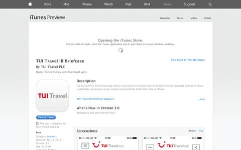 Screenshot of iOS App Page apple.com - TUI Travel IR Briefcase on the App Store on iTunes - captured Oct. 26, 2014