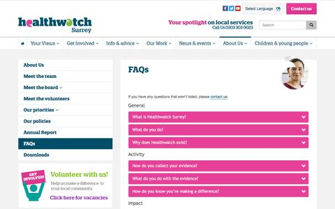 Screenshot of FAQ Page healthwatchsurrey.co.uk - FAQs - Healthwatch Surrey - captured July 17, 2018