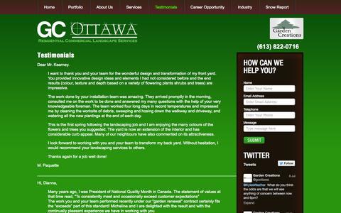 Screenshot of Testimonials Page gcottawa.com - Testimonials - captured Oct. 2, 2014