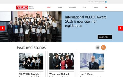 Screenshot of Press Page velux.com - News and press releases - VELUX Media Centre | VELUX Group - captured Nov. 23, 2015