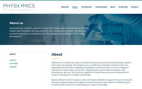 Screenshot of About Page physiomics-plc.com - About - Physiomics - Physiomics - captured July 18, 2018