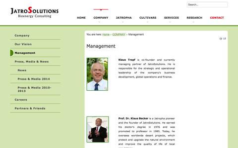 Screenshot of Team Page jatrosolutions.com - Management of jatroSolutions - captured Oct. 6, 2014