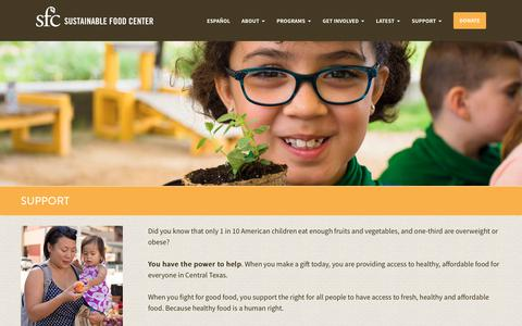 Screenshot of Support Page sustainablefoodcenter.org - Support - Sustainable Food Center - captured Sept. 21, 2018