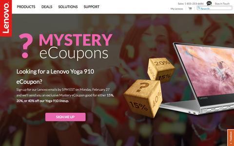 Screenshot of Signup Page lenovo.com - Lenovo Mystery eCoupons| Lenovo US - captured Feb. 26, 2017