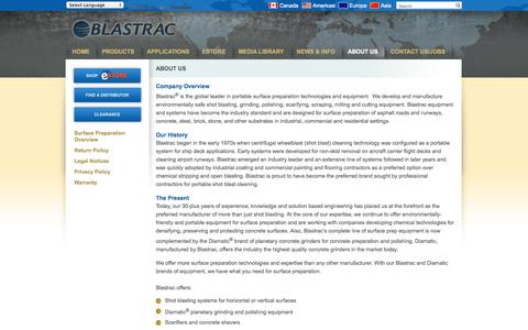 Screenshot of About Page blastrac.com - About Us - Blastrac, NA - captured Oct. 5, 2014