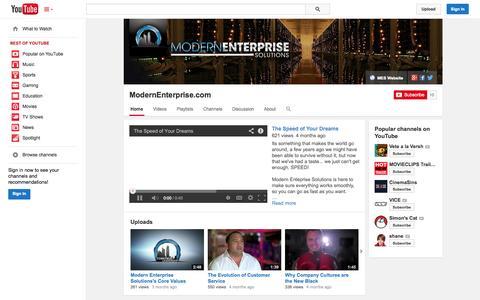 Screenshot of YouTube Page youtube.com - ModernEnterprise.com  - YouTube - captured Oct. 22, 2014