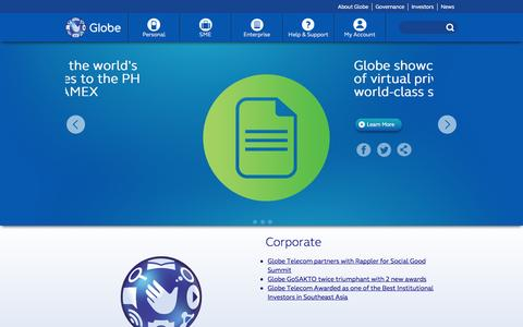 Screenshot of Press Page globe.com.ph - Press Room - Globe - captured Sept. 18, 2014