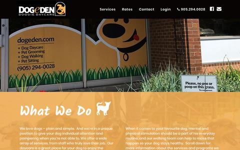 Screenshot of Services Page dogeden.com - What We Do - Dogeden | Markham, ON - captured Oct. 9, 2018