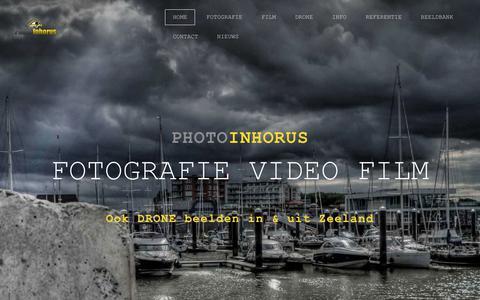 Screenshot of Home Page photo-inhorus.com - Photo Inhorus  - Film  Fotografie  Drone  Zeeland - captured July 18, 2018