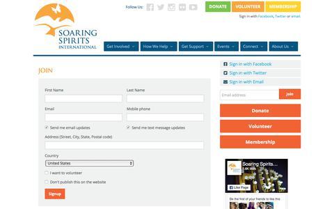 Screenshot of Signup Page soaringspirits.org - join - Soaring Spirits International - captured Feb. 2, 2018