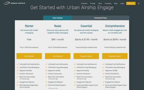 Screenshot of Pricing Page urbanairship.com - Mobile Engagement Packages | Urban Airship - captured April 15, 2016
