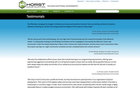 Screenshot of Testimonials Page horstconstruction.com - Horst Construction Testimonials and Success Stories - captured July 16, 2016