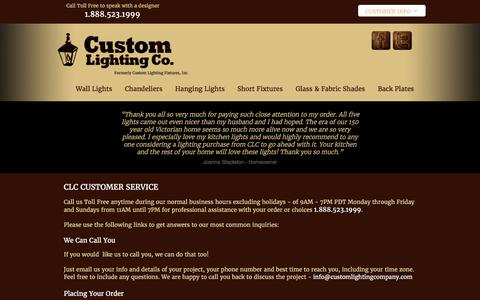 Screenshot of Support Page customlightingfixtures.com - Custom Lighting Company - Customer Service - captured Nov. 14, 2016