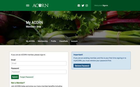Screenshot of Login Page acornorganic.org - ACORN   Atlantic Canadian Organic Regional Network - captured Oct. 6, 2017