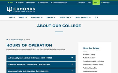 Screenshot of Hours Page edcc.edu - Edmonds Community College: About Our College - Hours of Operation - captured Nov. 8, 2018