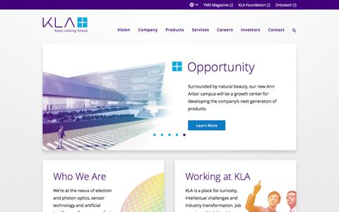 Screenshot of Home Page kla-tencor.com - KLA | Leaders in Process Control & Yield Management - captured Feb. 20, 2020